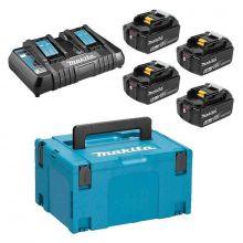 Pack Énergie Makita 18V Li-Ion 6Ah (4 batteries + 1 chargeur double) 198091-4