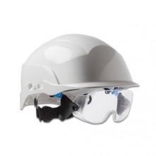 Casque de sécurité de chantier blanc avec lunette