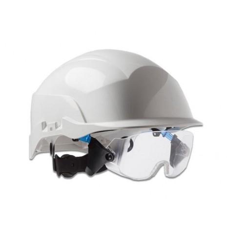 e6fa99350f71a Casque de sécurité de chantier blanc avec lunette - OUTILS.FR