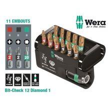 Coffret 11 embouts + porte embouts Bit-Check 12 Diamond 1 Wera