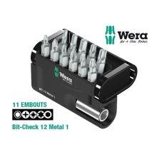 Coffret 11 embouts + porte embouts Bit-Check 12 Metal 1 Wera