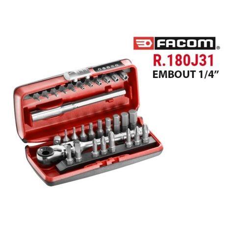 Coffret D Embouts 1 4 Avec Cliquet Compact R 180j31pb Facom Outils Fr