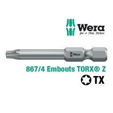 Embouts de vissage Z WERA 867/4 empreinte TORX