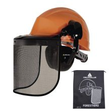 Casque de protection complet orange type forestier FORESTIER2
