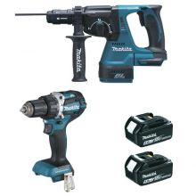 Ensemble de 2 machines 18 V Li-Ion 5 Ah (DDF484 + DHR243) DLX2191TJ MAKITA