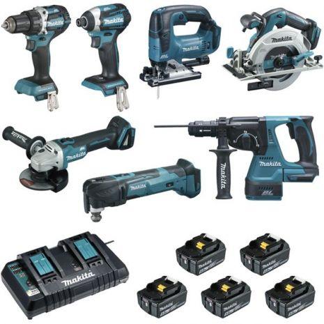 Ensemble de 7 machines (DDF484+DTD154+DGA506+DHS680+DHR243+DTM51+DJV182) DLX7014PTJ MAKITA