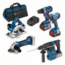 Pack pro 5 outils 18V + 3 batteries 5.0Ah + 1 chargeur 1880CV Bosch 0615990K9J