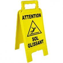 "Chevalet de signalisation jaune ""SOL GLISSANT"""
