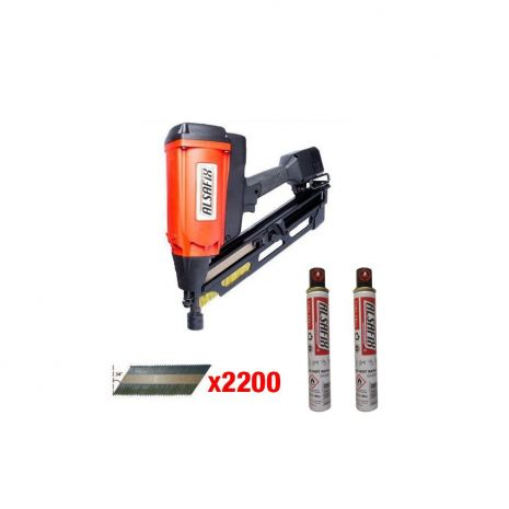 Kit cloueur gaz bois 34° D90G1 + 2200 pointes lisses 34° 2,8x70 + 2 cartouches de gaz