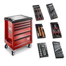 Servante rouge Roll complète avec 6 modules d\'outils Facom