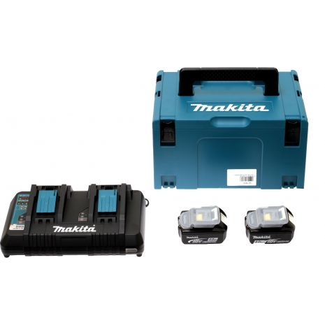 Pack Energie 18V 2 batteries 5Ah + chargeur double Makita