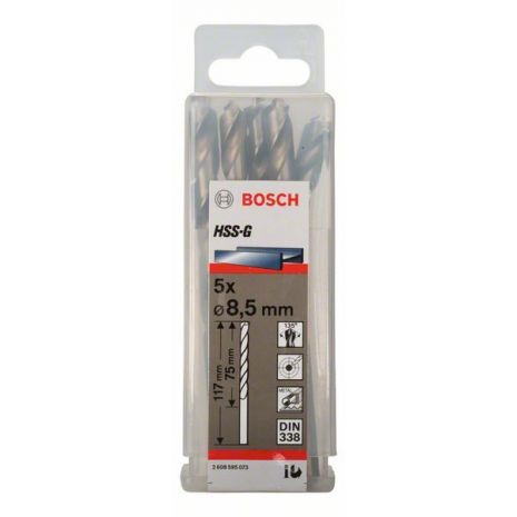 Forets à métaux rectifiés HSS-G, DIN 338 Bosch 2608595073