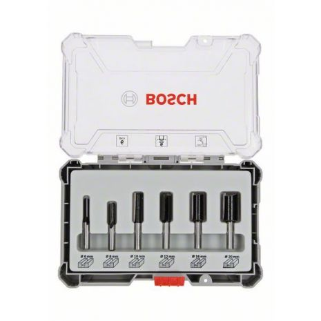 Kit de 6 fraises droites à queue de 6 mm Bosch 2607017465