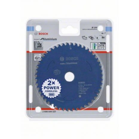Lame de scie circulaire Expert for Aluminium pour scies sans fil 150 x 1,8/1,3 x 20 T48 Bosch 2608644537