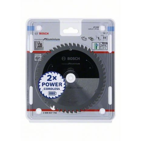Lame de scie circulaire Standard for Aluminium pour scies sans fil 150 x 1,8/1,3 x 20 T52 Bosch 2608837756