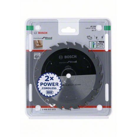 Lame de scie circulaire Standard for Wood pour scies sans fil 150 x 1,6/1 x 10 T24 Bosch 2608837673