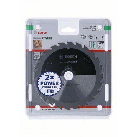 Lame de scie circulaire Standard for Wood pour scies sans fil 150 x 1,6/1 x 20 T24 Bosch 2608837674