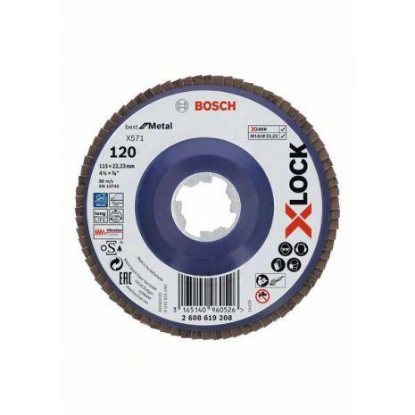 Plateaux à lamelles X-LOCK version droite, spatule plastique, Ø 115 mm, G 120, X571, Best for Metal, 1 pc Bosch 2608619208