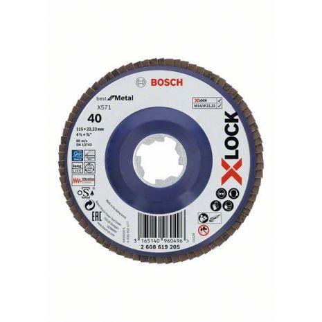 Plateaux à lamelles X-LOCK version droite, spatule plastique, Ø 115 mm, G 40, X571, Best for Metal, 1 pc Bosch 2608619205