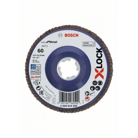 Plateaux à lamelles X-LOCK version droite, spatule plastique, Ø 115 mm, G 60, X571, Best for Metal, 1 pc Bosch 2608619206