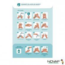 """Panneau rigide A4 """"Comment se laver les mains"""" A4"""