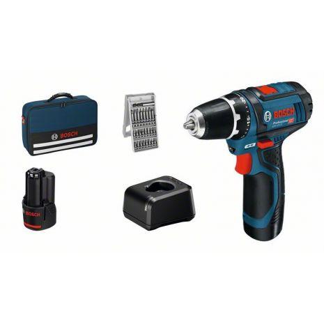 Perceuse Visseuse 12V + 25 embouts + 2 batteries 4Ah Bosch - 060186810H